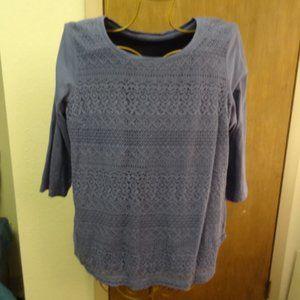 Croft&Barrow 3 Quarter Sleeve Blue Tunic w/Lace